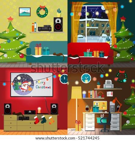 set of christmas room interiors