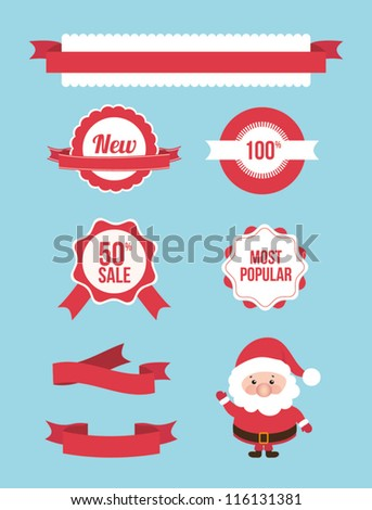 Set of christmas sale banners, frames, labels, ribbons, stickers. Vector illustration element. Santa claus