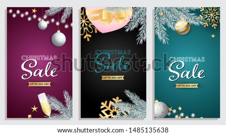 Set of Christmas Sale design with presents, Christmas toys and champagne on background of different colors. Up to fifty percent letterings can be used for posters, leaflets, announcements