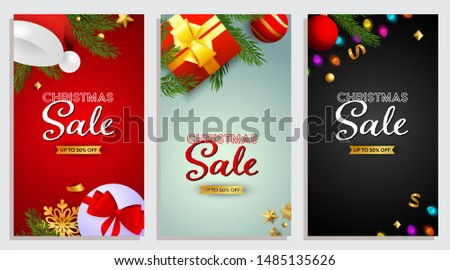 Set of Christmas Sale design with well-decorated presents and confetti coming on background of different colors. Up to fifty percent letterings can be used for posters, leaflets, announcements