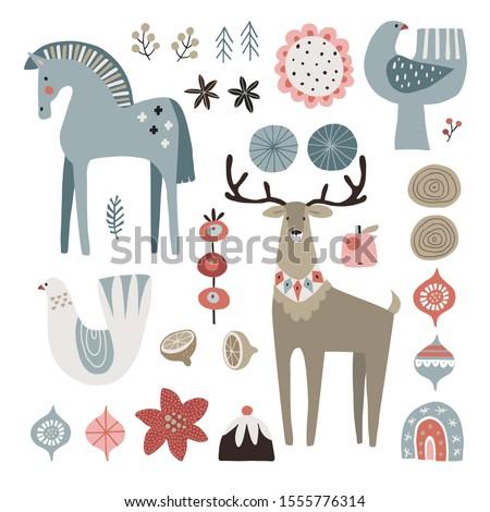 set of christmas scandinavian