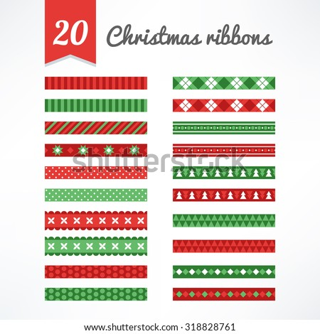 Set of Christmas seamless ribbons in Green, Red and White. Perfect for creating collages, decorating wishes, albums, greeting cards, glass, candles, home accessories and more