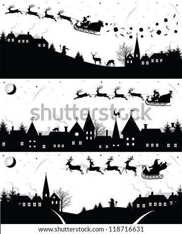 set of christmas silhouettes