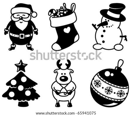 Set of Christmas silhouettes icons
