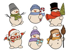 Set of Christmas snowman. Collection of funny stylized  snowmen in hats and scarfs. Fabulous character. Colorful illustration of winter symbol. Drawing for children.