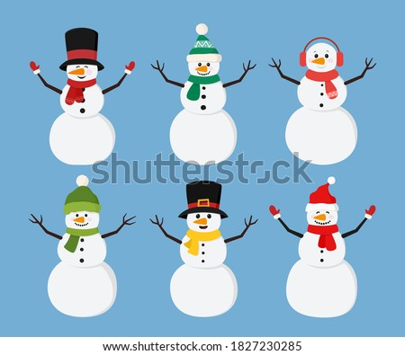 Set of christmas snowmans in scarf and hat flat style. Cute characters snowmans collection for holiday xmas and new year. Vector illustration.
