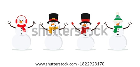 Set of christmas snowmans isolated on white background. Cheerful snowmen in different costumes and scarf and hat. Vector illustration for holiday xmas and new year.