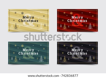 Set 1 of christmas social media box templates. Minimal covers design with christmas tree and snow. Trendy stripes pattern. Vector backgrounds.