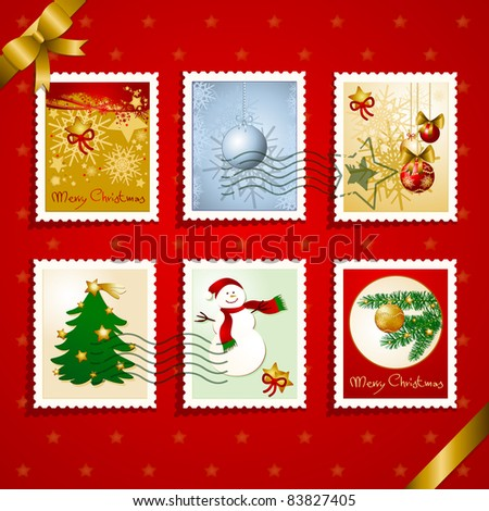 Set of Christmas stamps and postmarks. Vector