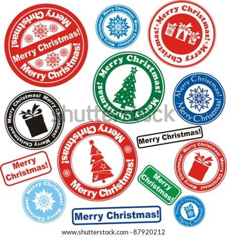 Set of Christmas stamps isolated on White background. Vector illustration
