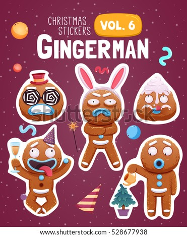 set of christmas stickers with