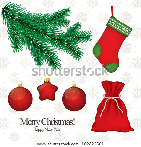 Set of Christmas symbols for design - stock vector