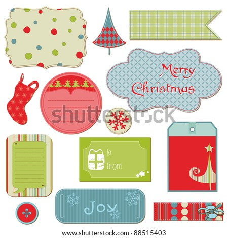 Set of Christmas Tags and Elements - for design and scrapbook in ...