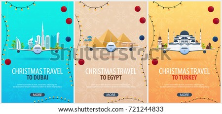 set of christmas travel posters