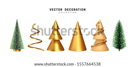 set of christmas tree 3d