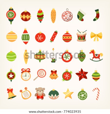 Set of christmas tree decorations in classic holiday colors. Balls, stars and ribbons cliparts for creating winter posters, cards and invitations
