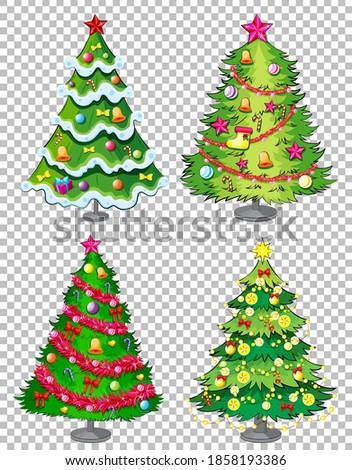 Set of christmas tree on transparent background illustration stock photo