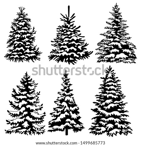 Set of Christmas trees. Collection of black and white Christmas trees. Vector illustration for children. Tattoo.