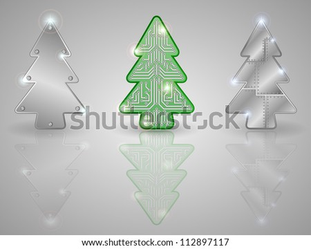 Set of Christmas trees on a gray background, illustration.