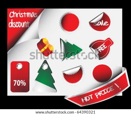 Set of christmas trendy discount sticker