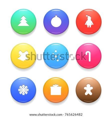 Set of Christmas Vector Badges Isolated on White Background. Colorful Glossy Badge Button Icons. Realistic Vector Illustration.