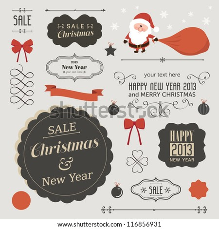 Set of christmas vector elements vintage banner ribbon labels frames badge stickers Vector Christmas element Vintage santa claus ornaments and decorative element