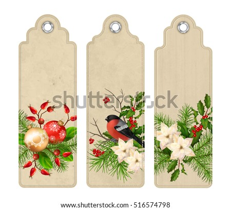 Set of Christmas vector tags or bookmarks with holiday compositions