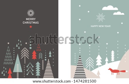 Set of Christmas vertical banners. Merry Chrismas and Happy New Year's cards. Stylized Christmas trees, snowflakes, forest, little fox, minimalistic scandinavian style