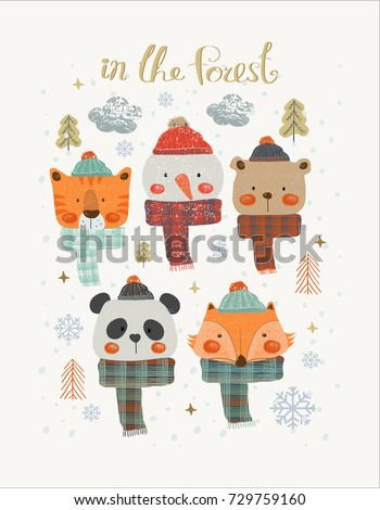 Set of Christmas Woodland Cute Animals , Forest Animals ,Can be used for baby t-shirt print, fashion print design, kids wear, baby shower celebration greeting and invitation card.