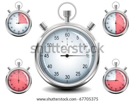 Set of Chrome analog Stopwatch. Vector illustration. EPS8