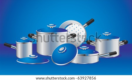 set of chrome-plated pans with blue lids