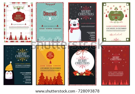 Shutterstock Set of Chrsitmas flayer design template, vector ilustration