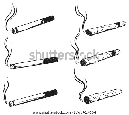 Set of cigarettes. Collection of silhouette cuban cigars with smoke. Nicotine cigarette. Smoking. Vector illustration of a luxury cigar with emblems.
