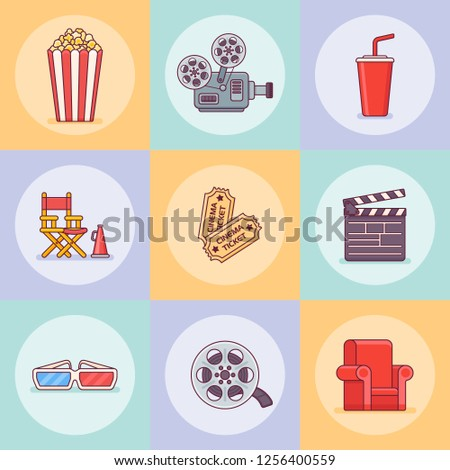 Set of cinema flat line icons. Movie design elements. Vector illustration.
