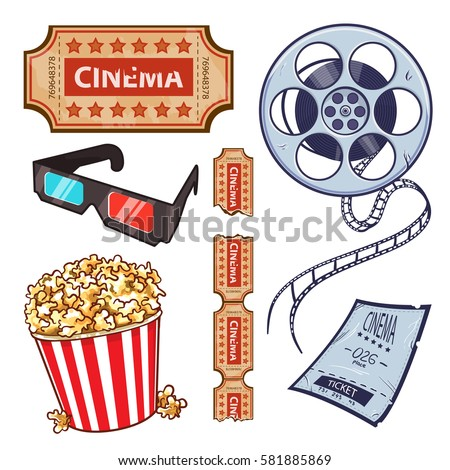 Set of cinema, movies symbols, icons, objects. Movie objects - film roll, ticket, popcorn bucket and 3d glasses, cartoon vector illustration isolated on white background.