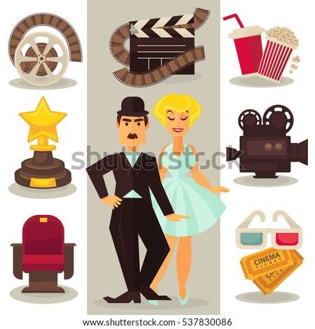 set of cinema symbols and