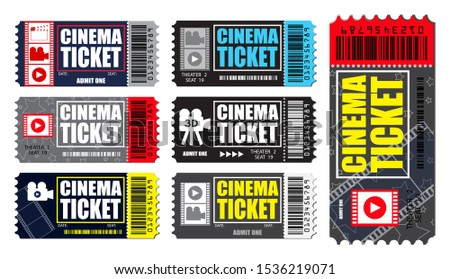 Set of cinema tickets in various color. easy to modify