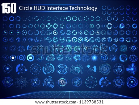 Set of Circle Abstract Digital Technology UI Futuristic HUD Virtual Interface Elements Sci- Fi Modern User For Graphic Motion, Theme Technology, Game Control,  Elements of Background Hi-tech or Design