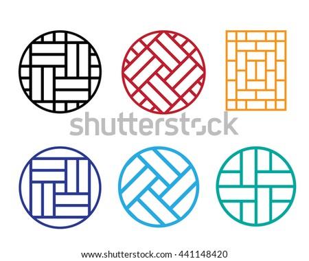 set of circle chinese pattern