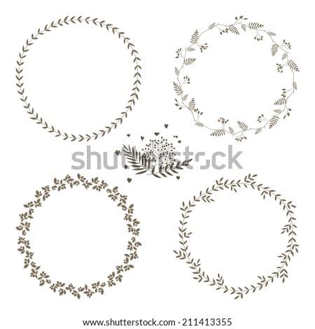 set of 4 circle cute hand drawn