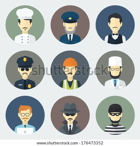 Set of Circle Flat Icons with Man of Different Professions