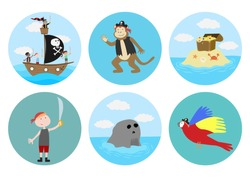 Set of circle gift tag, badge, button pin, cake decoration. Pirates adventure, boy, party, treasure hunt, island, ship, sail, parrot, monkey.