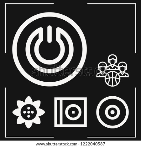 set of 6 circle outline icons