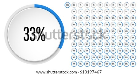 Set of circle percentage diagrams from 0 to 100 ready-to-use for web design, user interface (UI) or infographic - indicator with blue