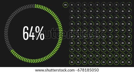 Set of circle percentage diagrams from 0 to 100 ready-to-use for web design, user interface (UI) or infographic - indicator with green