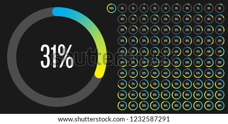 Set of circle percentage diagrams (meters) from 0 to 100 ready-to-use for web design, user interface (UI) or infographic - indicator with gradient from cyan (blue) to yellow