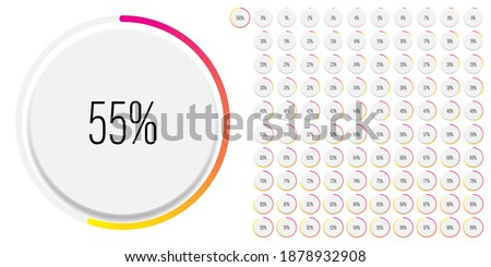Set of circle percentage diagrams meters from 0 to 100 ready-to-use for web design, user interface UI or infographic with 3D concept - indicator with gradient from magenta hot pink to yellow Foto stock ©