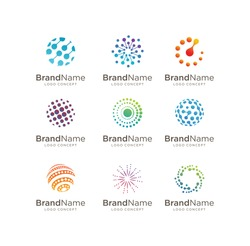 Set of Circle Tech logo template,Advanced analysis data base Logo symbol. Development of artificial intelligence sign. Abstract innovative high tech logo template. Colorful round