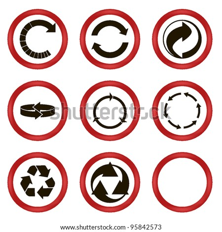 set of circled arrows. vector icons