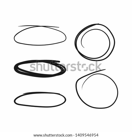 Set of circles and ovals drawn by hand. Sketch, doodle, scribble. Vector illustration.